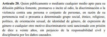 Artículo 20 de ley contra el odio Venezuela