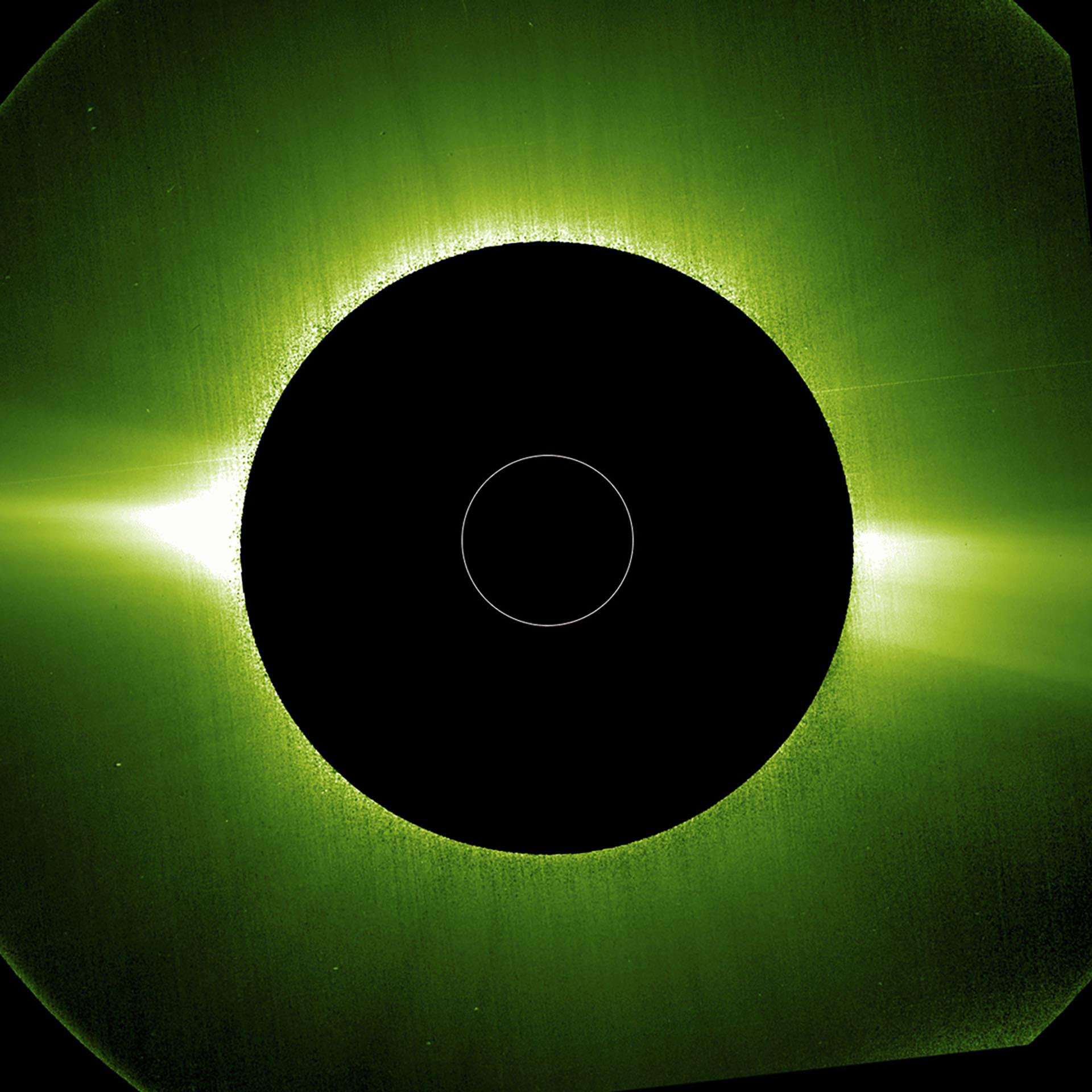 La corona del Sol fotografiada por el instrumento Metis del Solar Orbiter (Solar Orbiter/MetisTeam/ESA/NASA / AFP)
