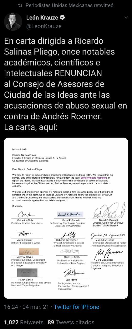 A través de una carta dirigida a Ricardo Salinas Pliego, 11 académicos, científicos e intelectuales renunciaron al Consejo de Asesores de la Ciudad de las Ideas debido a las denuncias interpuestas contra Roemer (Foto: Twitter/@LeonKrauze)