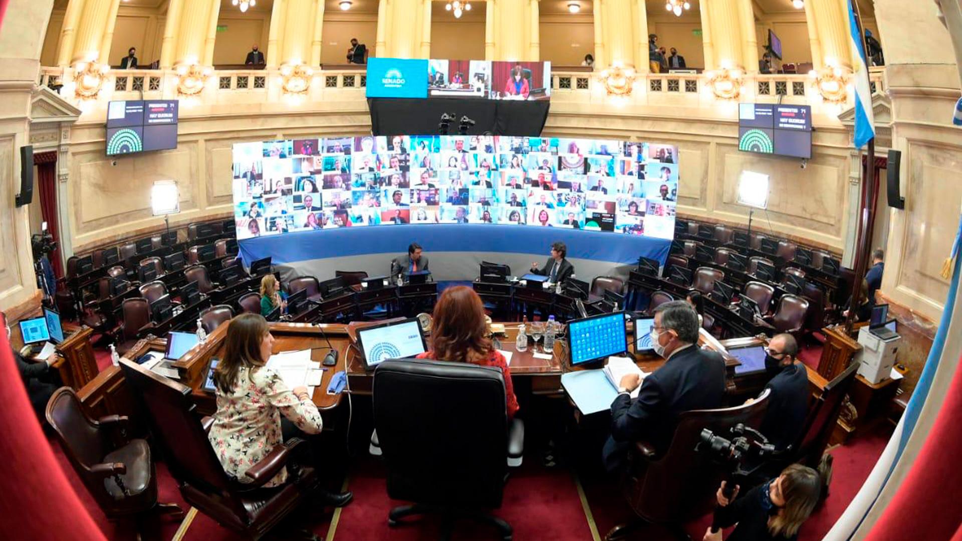 Esta tarde, el Senado aprobó en la primera sesión virtual los 20 DNU del presidente Alberto Fernández