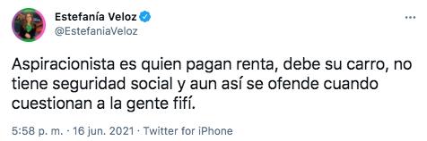 Veloz consideró que es aspiracionista quien paga renta, debe su carro y carece de seguridad social (Foto: Twitter@EstefaniaVeloz)