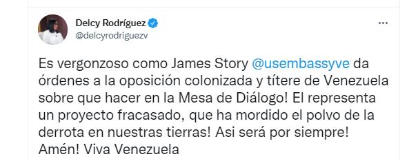 El mensaje de la vicepresidenta del régimen chavista, Delcy Rodríguez