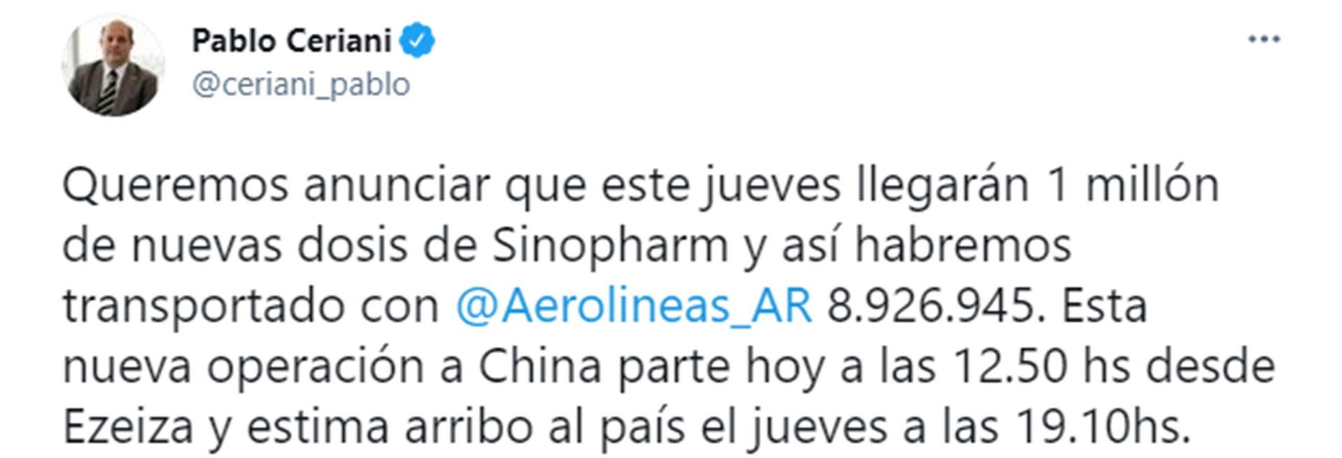 Tuit de Pablo Ceriani, presidente de AA