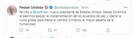 Piedad Córdoba reacciona ante las elecciones de los EE.UU.