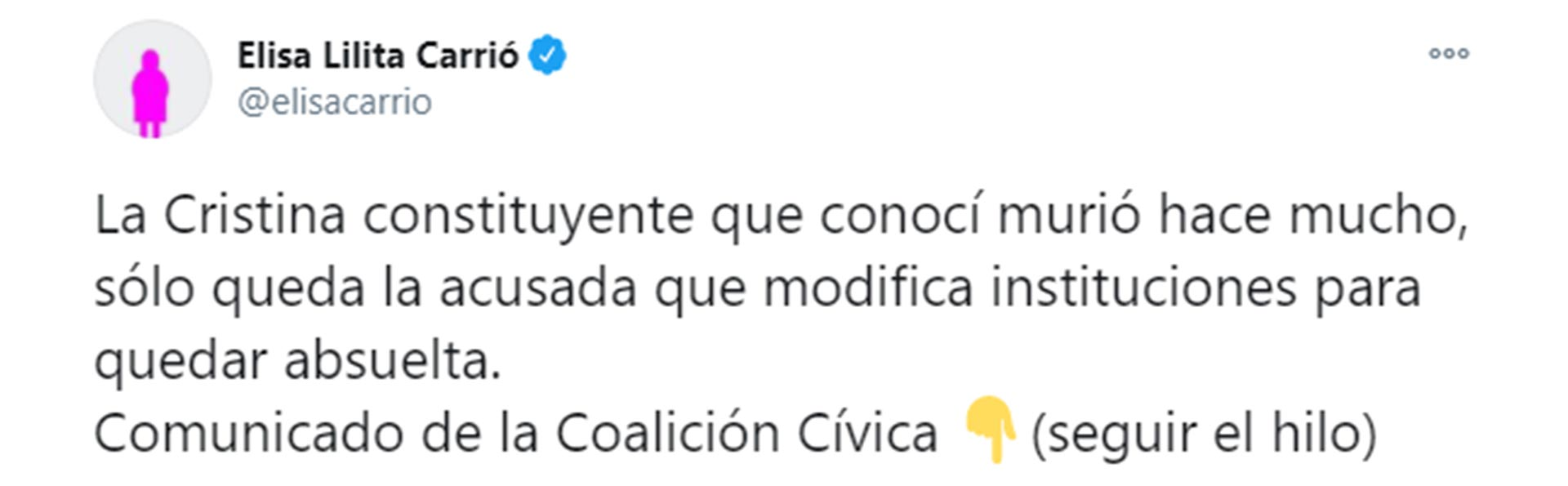 La crítica de Elisa Carrió a Cristina Kirchner.
