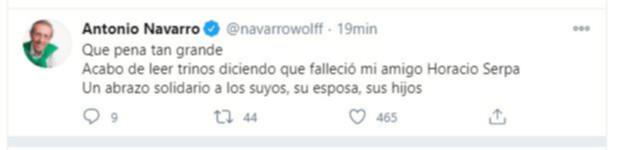 Reacciones muerte Horacio Serpa