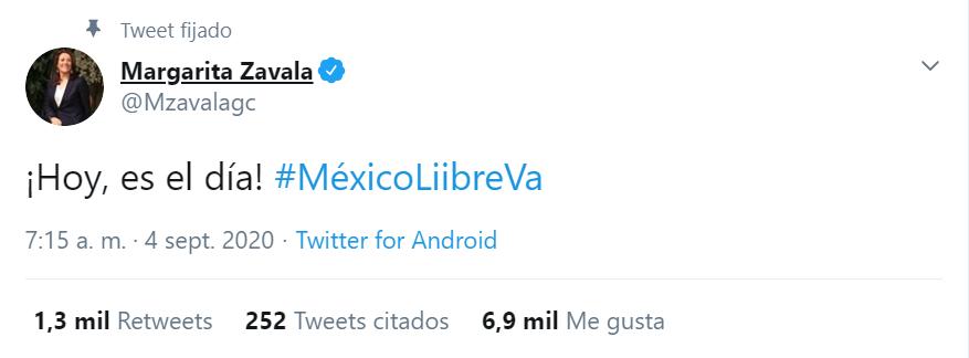 Así se expresó Margarita Zavala a propósito de la sesión del Consejo General del INE de este viernes 4 de septiembre en la que podría confirmarse el registro de México Libre como partido. (Foto: captura de pantalla)