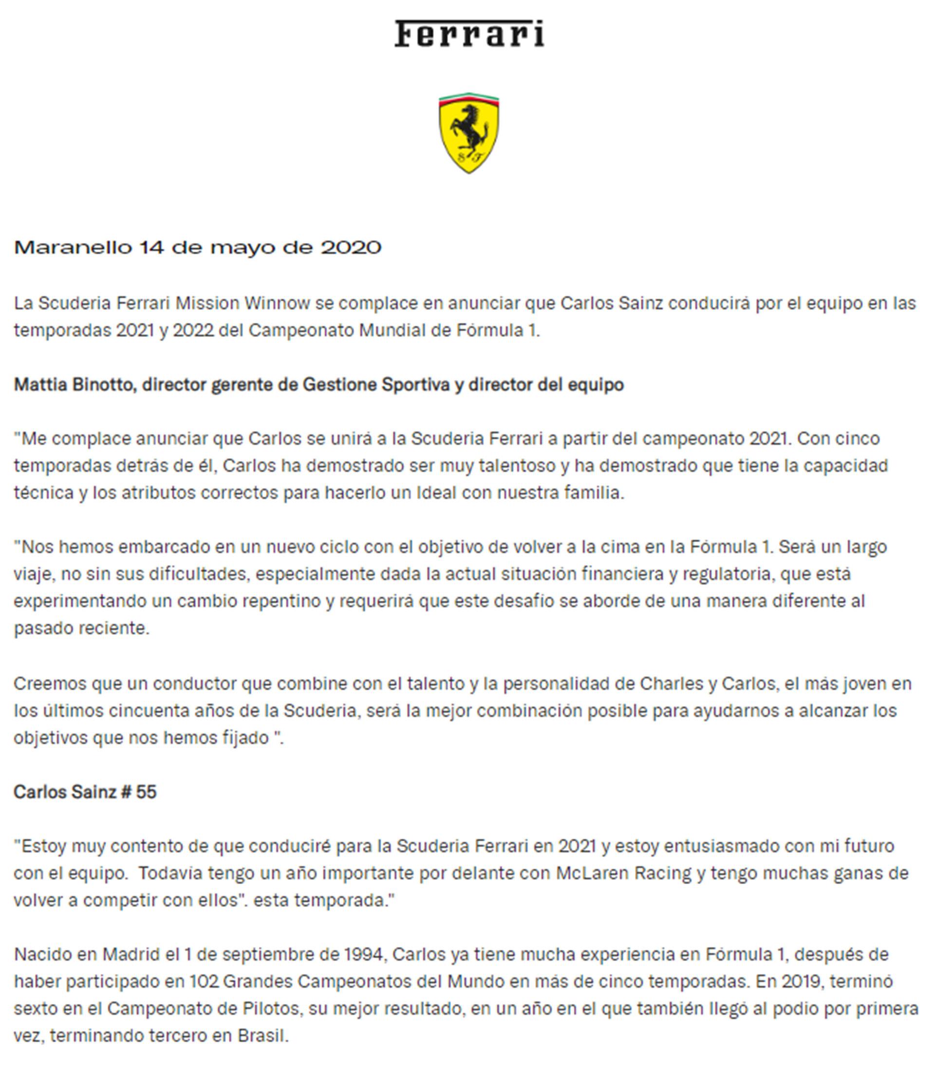 El comunicado de Ferrari