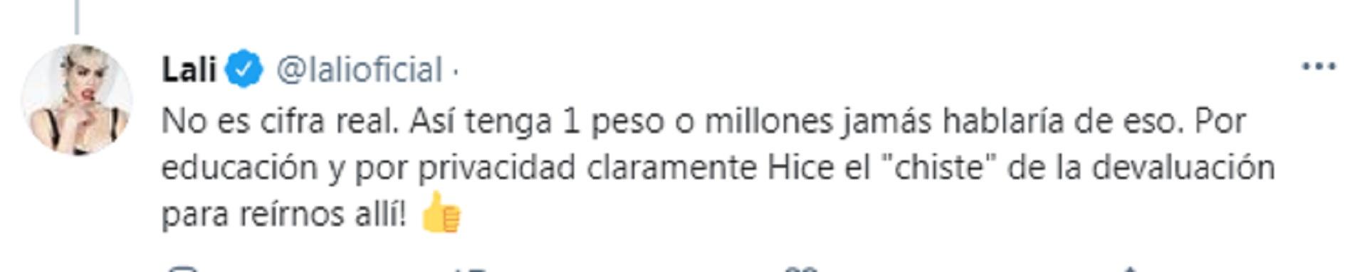 La aclaración de Lali Espósito sobre el dinero que dijo tener ahorrado
