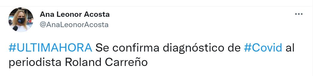Tweet de la abogada de Roland Carreño, confirmando que dio positivo por COVID-19