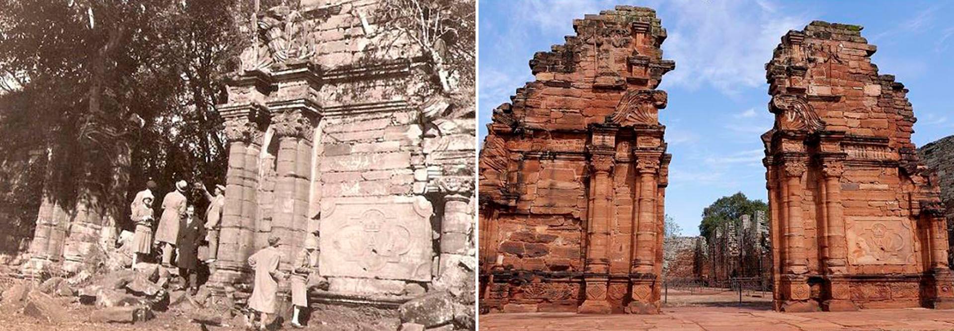 Las Ruinas de San Ignacio, en Misiones, como se encontraban antes de su restauración y hoy