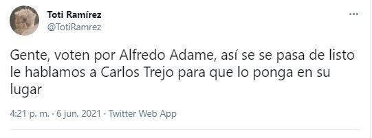 Los internautas no perdieron la oportunidad de referir a la mítica rivalidad entre Alfredo Adame y Carlos Trejo (Captura: Twitter)
