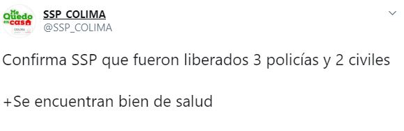La SSP Colima informó sobre la aparición de cinco de las 12 personas levantadas en los límites de Colima y Jalisco  (Foto: Twitter/SSP_COLIMA)