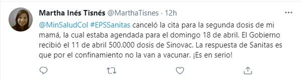 Denuncian en Twitter reagendamiento de la vacunación con segundas dosis de Sinovac. Foto: Twitter Martha Inés Tisnés.