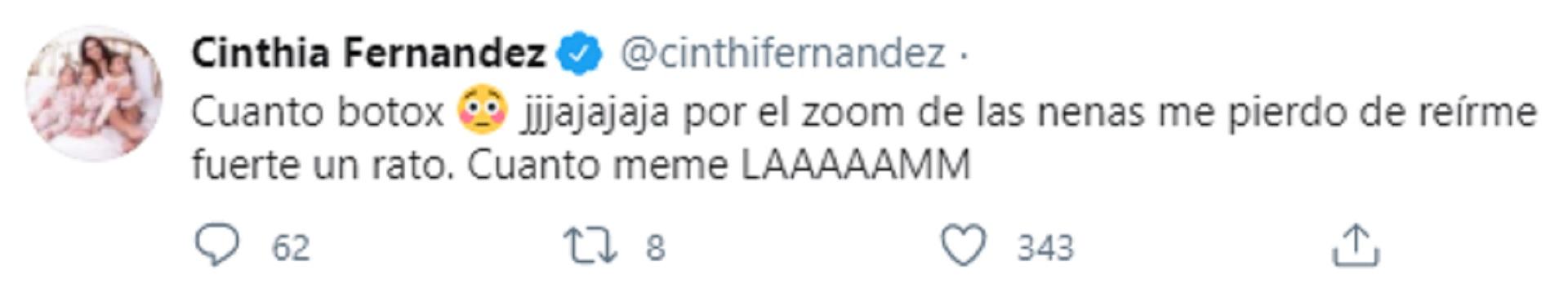 El tuit de Cinthia Fernández mientras Baclini confirmaba sus retoques en la cara
