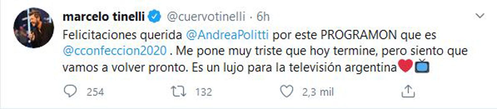 El mensaje de Tinelli para Politti (Foto: Twitter)