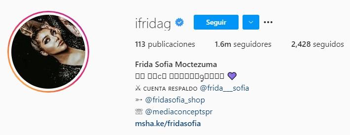"""Este 5 de mayo, la influencer cambió su nombre a """"Frida Sofía Moctezuma"""" en su cuenta de Instagram (Foto: Instagram / @ifridag)"""
