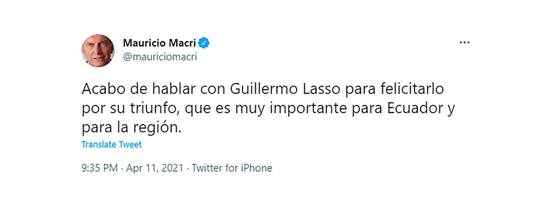 Mauricio Macri felicitó a Lasso por su victoria en Ecuador