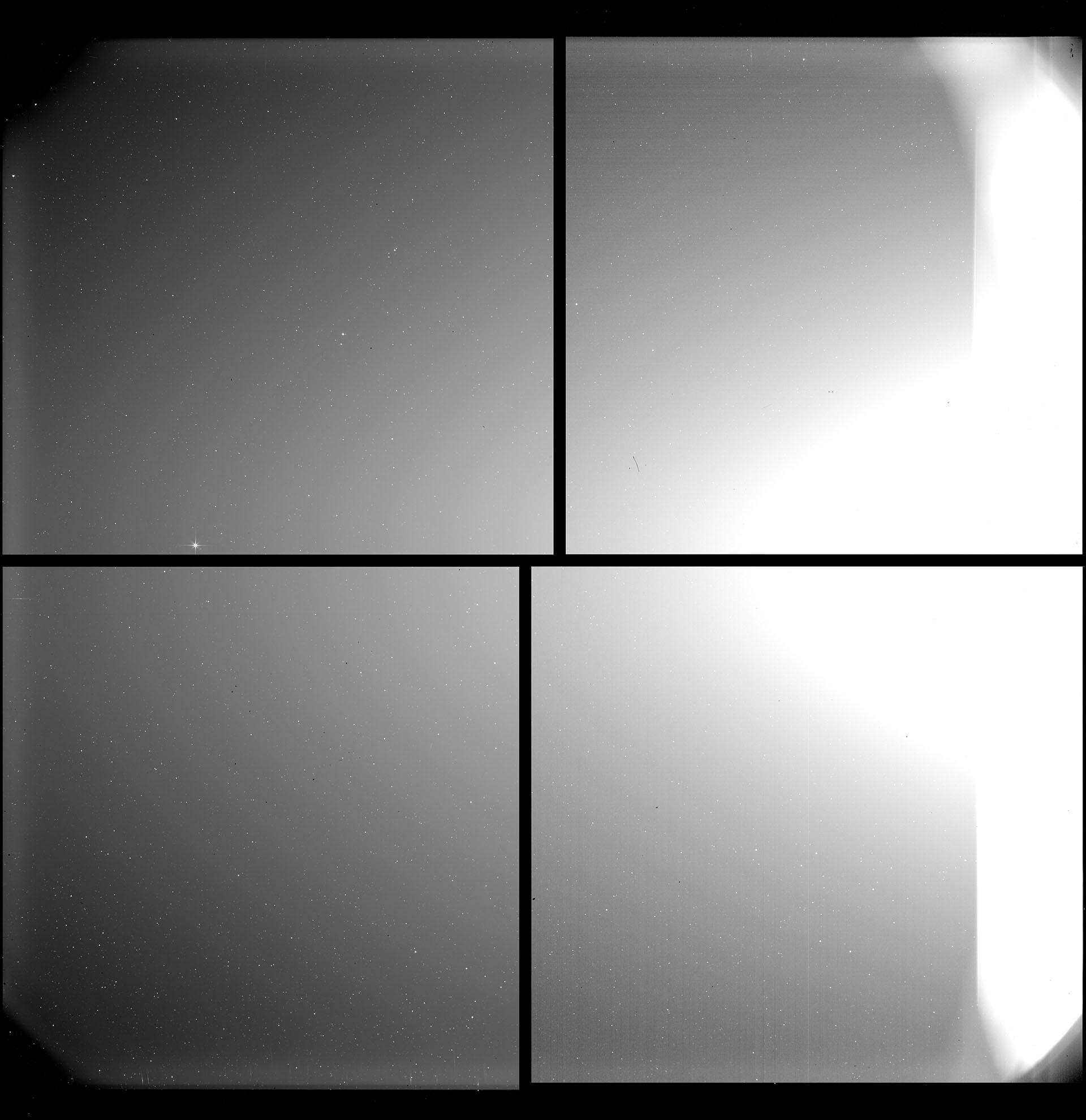 Un mosaico de cuatro imágenes separadas de cuatro detectores distintos, obtenidas por el telescopio Heliospheric Imager (SoloHI) en la nave espacial Solar Orbiter de la ESA. Entonces, el Solar Orbiter estaba a una distancia de 0,5 unidades astronómicas (UA; una UA equivale a la distancia promedio de la Tierra al Sol, unos 150 millones de kilómetros) del Sol (EFE/EPA/SOLAR ORBITER/ EQUIPOOLOHI/ ESA & NASA US LABORATORIO DE INVESTIGACIÓN NAVAL)