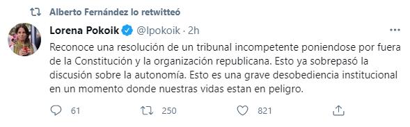 Las expresiones pertenecen a Lorena Pokoik, legisladora del Frente de Todos, y Vicepresidenta del Partido Justicialista de la Ciudad de Buenos Aires
