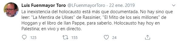 Uno de los tantos tuits negacionistas de Luis Fuenmayor Toro, el nuevo rector electoral suplente del régimen venezolano