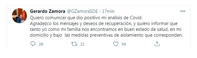 Gerardo Zamora contó que tenía COIVID-19 a través de su cuenta de Twitter (Twitter: @GZamoraSDE)