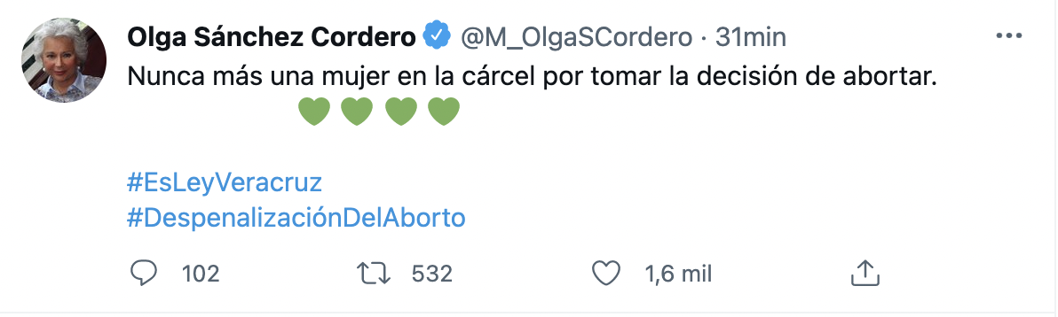 La secretaria federal destacó que nunca más una mujer irá a la cárcel por decidir interrumpir su embarazo (Foto: Twitter@M:OlgaSCordero)