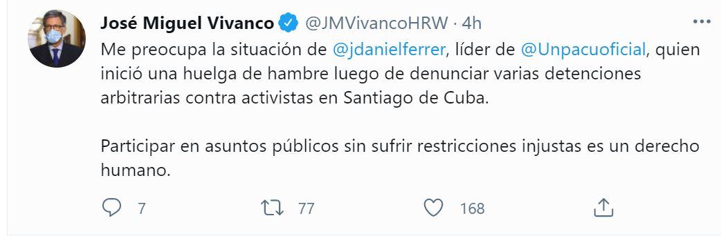 Tweet de José Miguel Vivanco