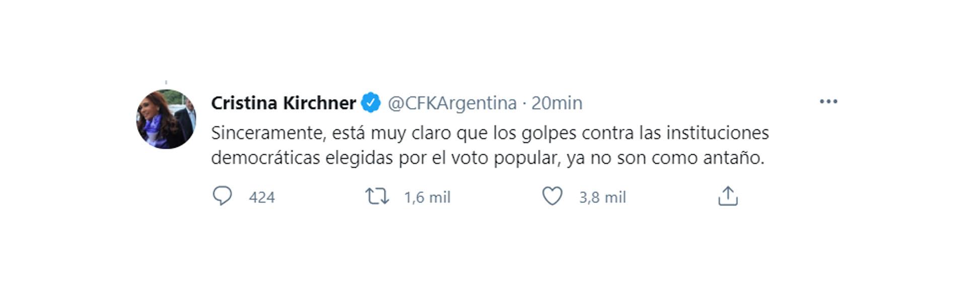 Uno de los mensajes de Cristina Kirchner tras el fallo de la Corte Suprema de Justicia (Twitter)