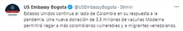 El tuit de la Embajada de EEUU en Colombia