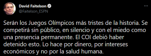 David Faitelson arremetió contra el Comité Olímpico Internacional por realizar los Juegos Olímpicos de Tokio (Foto: Twitter/@Faitelson_ESPN)