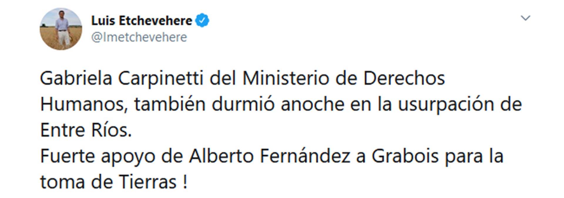 El tweet que escribió Etchevehere sobre la participación de Carpineti en la usurpación