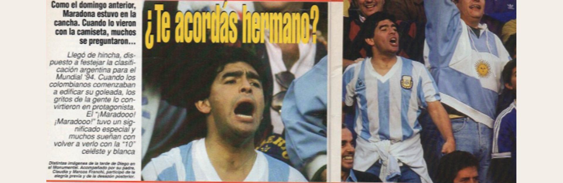 Maradona presenció desde una de las plateas del Monumental el 5-0 de Colombia a Argentina en el Monumental (El Gráfico)