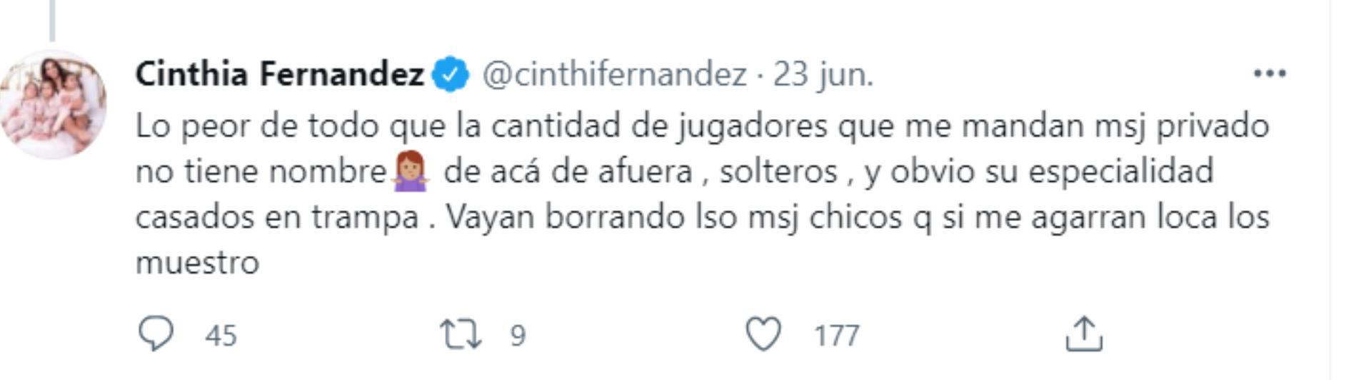 La advertencia de Cinthia Fernández