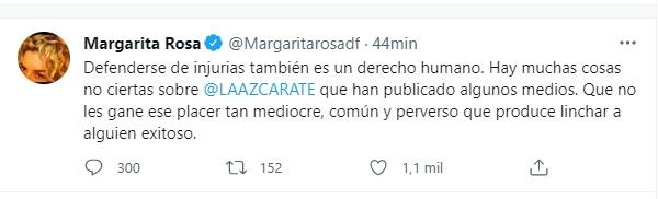 Post en Twitter de Margarita Rosa de Francisco. Foto: @margaritarosadf
