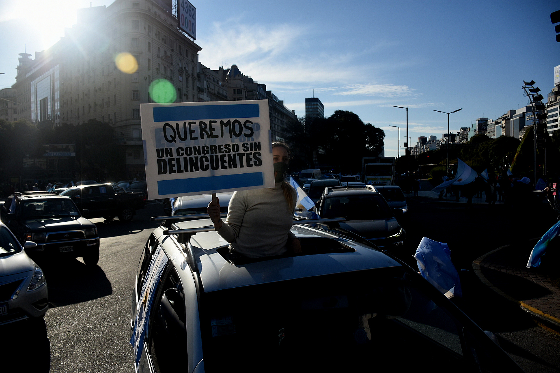 Las críticas a la clase política argentina fue otro de los temas presentes durante la jornada de protesta