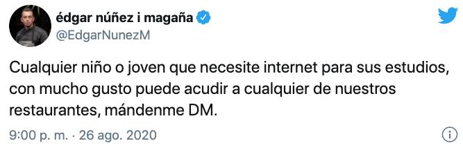 El restaurantero ofreció su internet a estudiantes