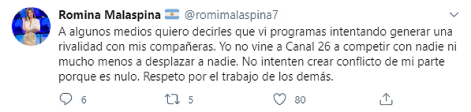 El tuit de Romina Malaespina