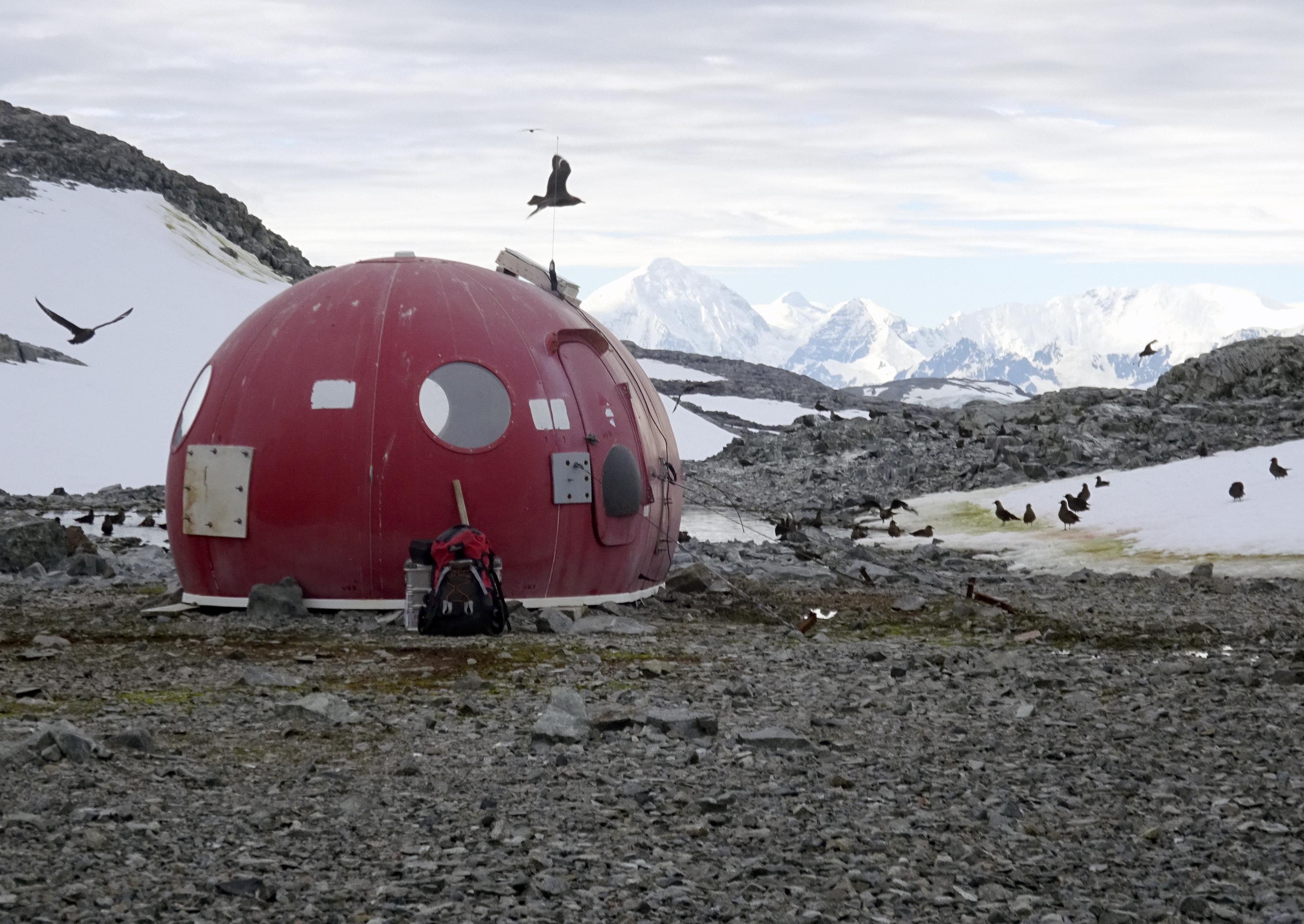 Foto del folleto tomada en 2018 y publicada por la Universidad de Cambridge el 20 de mayo de 2020 que muestra una cápsula de supervivencia en la isla de Anchorage, en la Antártida. (AFP PHOTO / Dr Matt Davey - Universidad de Cambridge / SAMS)