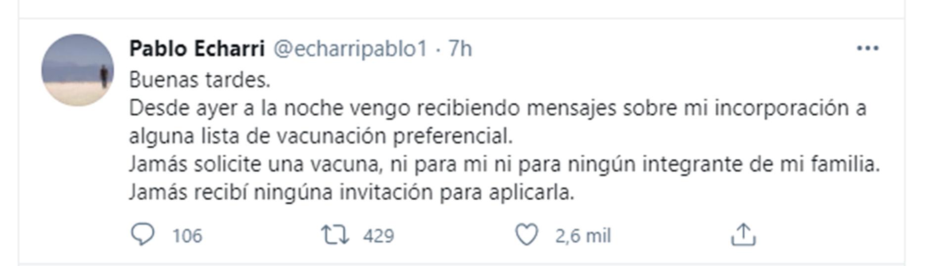 Pablo Echarri desmintió haber sido vacunado (Foto: Twitter)