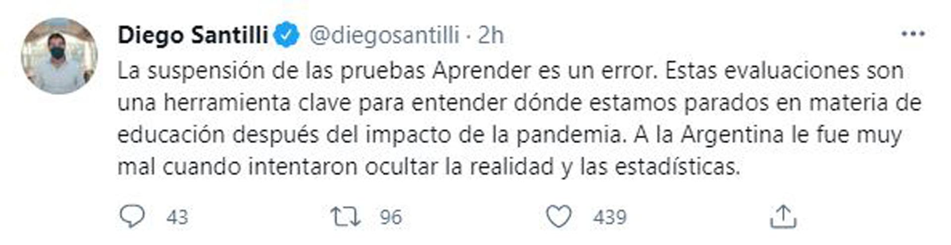 El mensaje de Santilli (@diegosantilli)