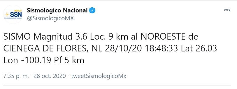 La información del Sismológico Nacional