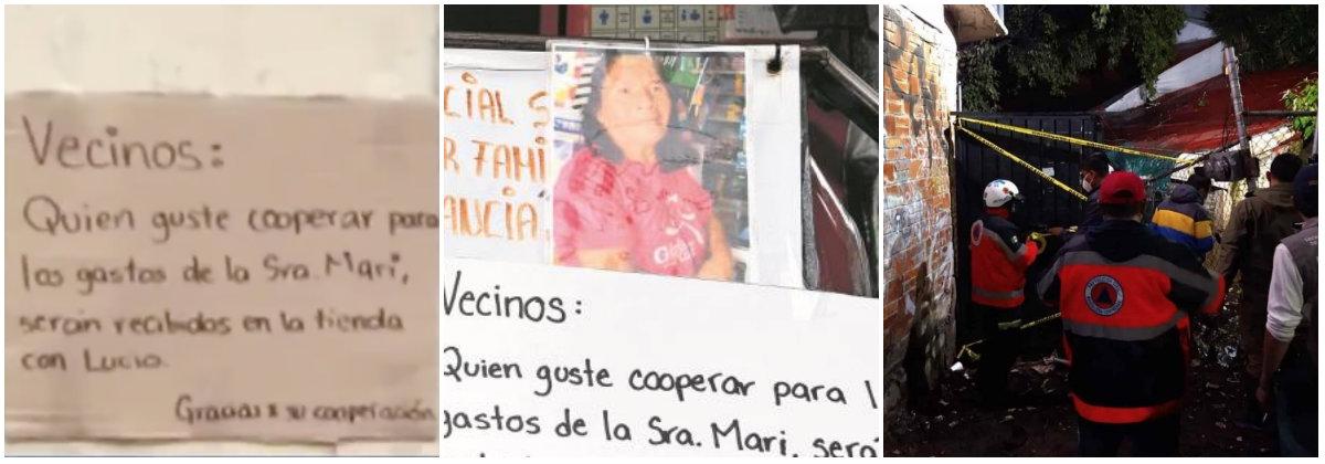 Doña Mary vivía al lado del canal de aguas negras, sin familia y en compañía de una mascota Foto: Captura de pantalla Noticias Telediario