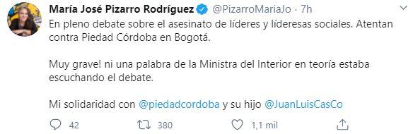 María José Pizarro se pronuncia por el atentado contra escoltas de Piedad Córdoba