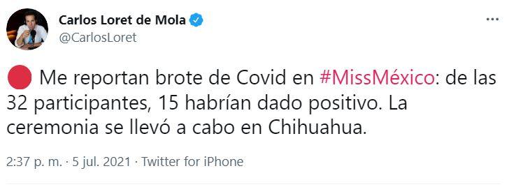 El reportero y conductor informó sobre el brote del virus en redes sociales y a través de una entrevista con el secretario de Salud de Chihuahua (Captura: Twitter)