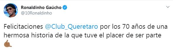 El astro brasileño recordó su paso institución donde quedó subcampeón en México (Foto: Twitter/ @10Ronaldinho)