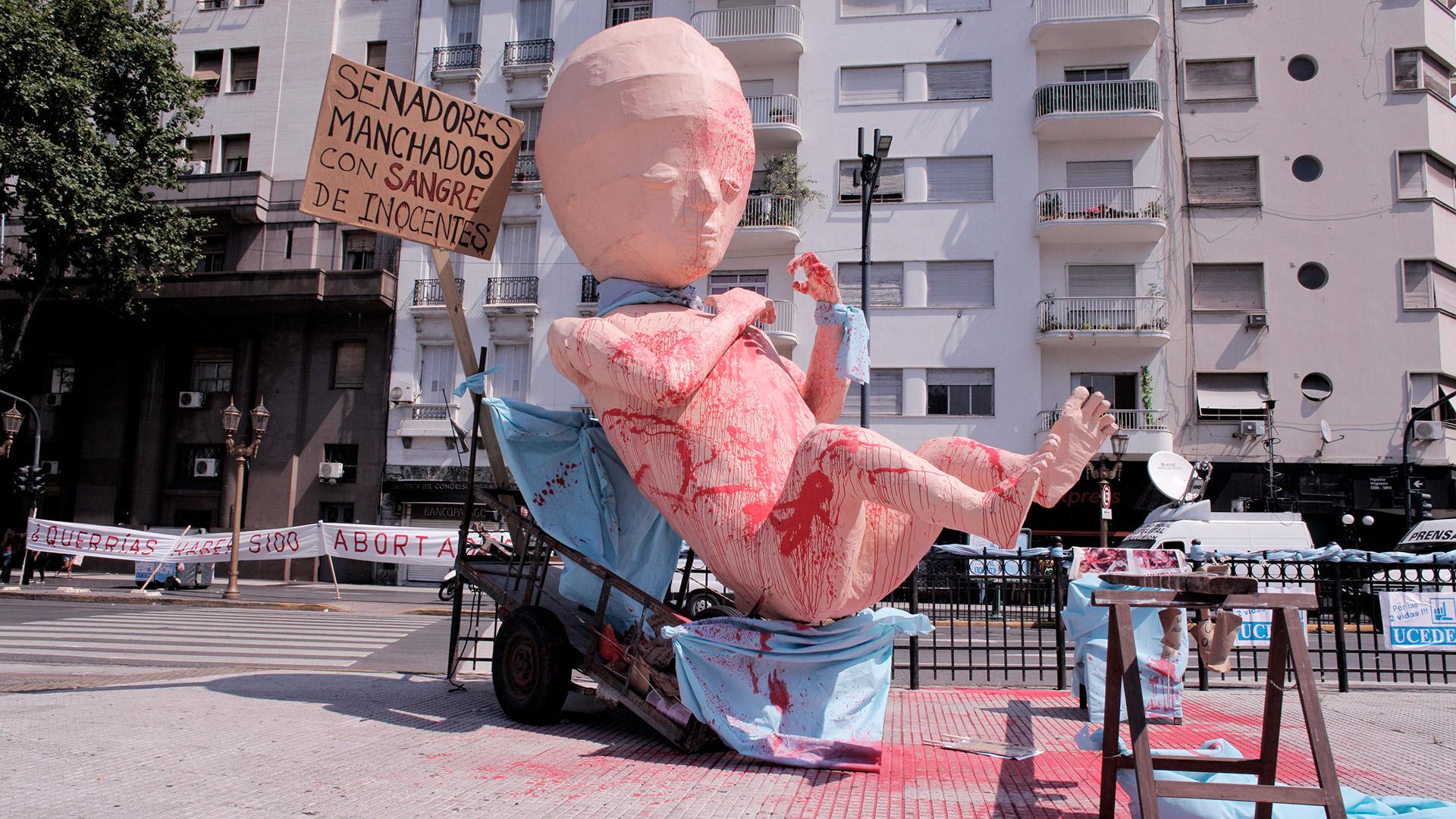 El feto ginante estuvo presente frente al Congreso al igual que en 2018, cuando la ley fue rechazada