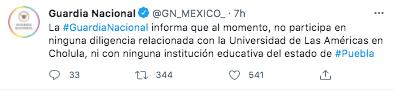 La Guardia Nacional negó su participación relacionada con la UDLAP (Foto: Twitter@GN_MEXICO_)