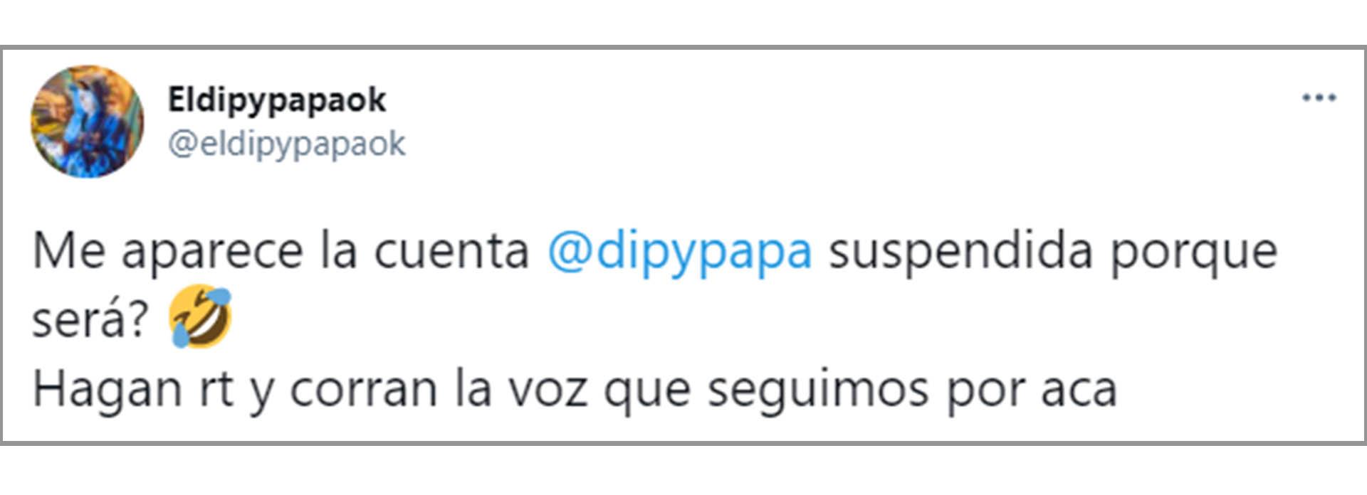 Los primeros posteos de El Dipy en su nueva cuenta de Twitter