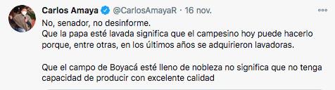 Respuesta de Carlos Amaya a Trino de Gustavo Petro sobre el cultivo de papas. Foto: @CarlosAmayaR